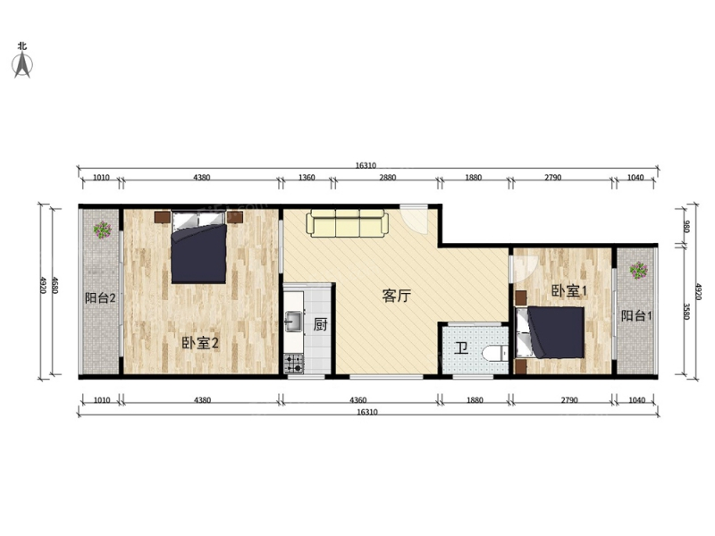 和平街十四区 东西通透双阳台两居室带客厅