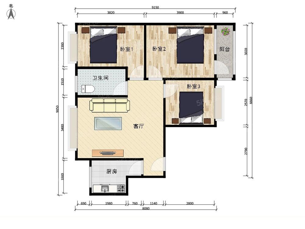 北京我爱我家此房正规3居东西通透精装修全明格局第7张图